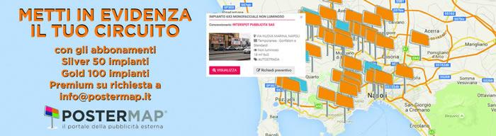 MAPPA impianti pubblicita e affissioni 6x3 NAPOLI e Campania PosterMap
