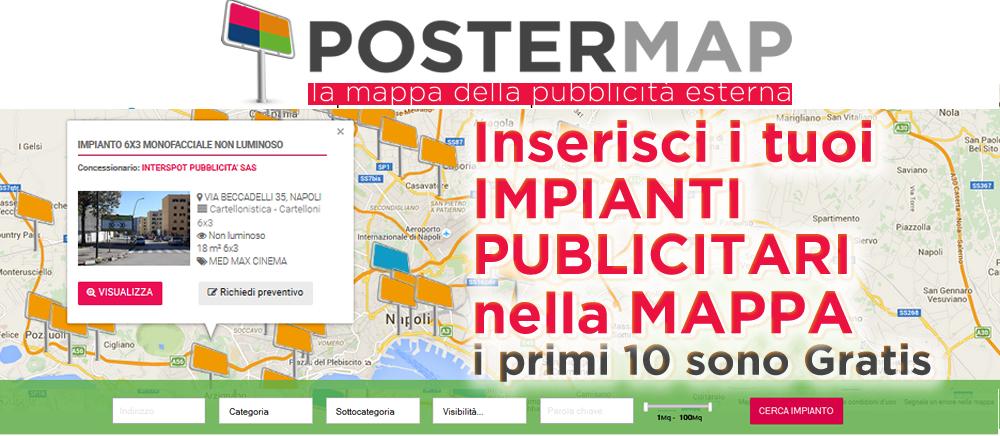 la mappa degli impianti di affissione 6x3 Napoli