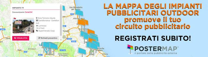 la MAPPA degli impianti pubblicita e affissioni outdoor in Abruzzo