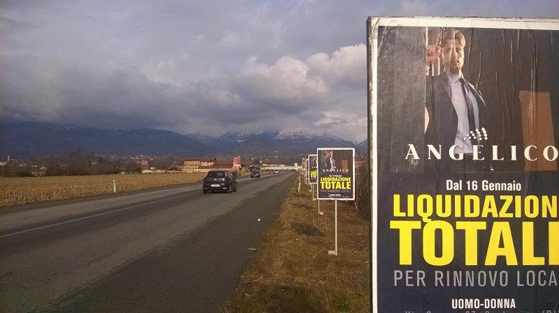 Paline pubblicitarie temporanee bifacciali a Biella